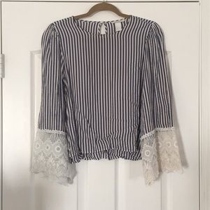 Striped Top with Lace Sleeves